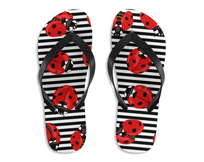 Unisex Flip Flops, Ladybug Bug Insect Print Sandals, Lady Bug Summer Beach Flip Flops, Beach Shoes, Boho Flip Flop Shoe Footwear Accessories