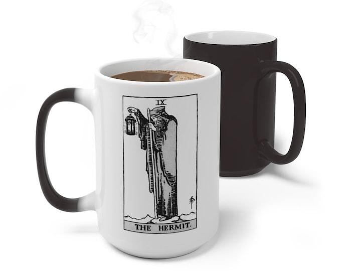Tarot Card Color Changing Mug, The Hermit Tarot, 11oz 15oz Mug, Magic Mug, Occult Divination Spiritual Mug, Color Change Cup, Ceramic Mug