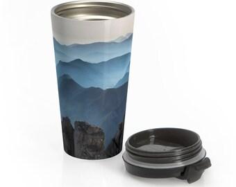 Stainless Steel Travel Mug, Nature Boho Bohemian Hippie Travel Mug, All Over Print Steel Mug, 15 Ounce Tumbler, 15oz Coffee Tea Drinkware