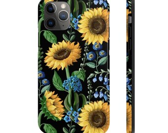 Case Mate Tough Phone Case, iPhone Samsung Phone Cover, Boho Sunflowers Floral Phone Case, iPhone 11/11 Pro, Samsung Galaxy, iPhone XS XR