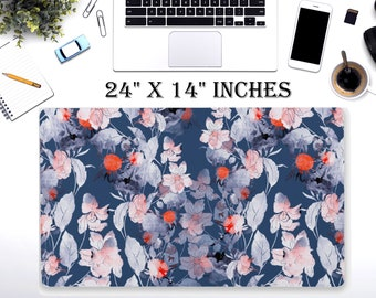 "LARGE Japanese Floral Desk Pad, 24"" x 12""in Non Slip Desk Pad, Office Accessories, Computer Tech Supplies, Boho Bohemian Neoprene Desk Mat"