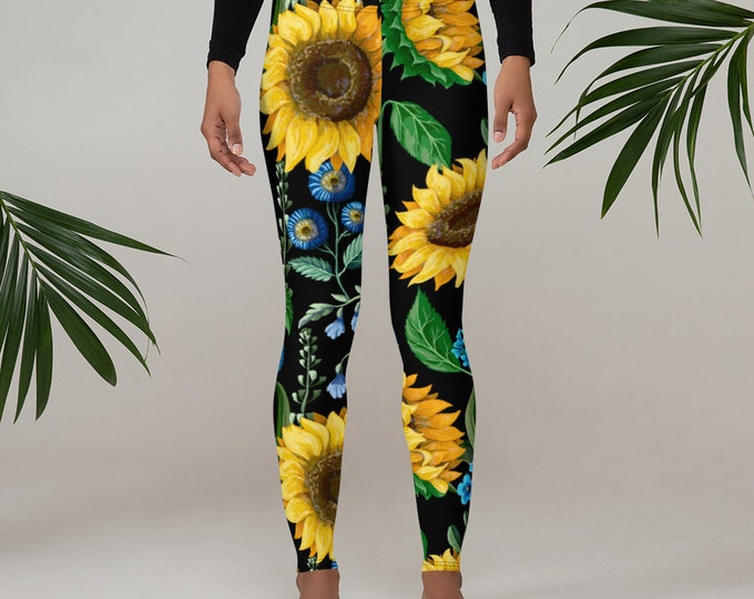 Womens Leggings, Boho Flowers Floral Leggings, Exercise Yoga Pants, Sunflowers Bohemian Leggings XS S M L XL Size, Workout Sports Wear Pants