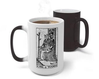 Tarot Card Color Changing Mug, King of Wands Tarot Card Mug, 11oz 15oz Mug, Custom Occult Divination Spiritual Color Change Ceramic Mug