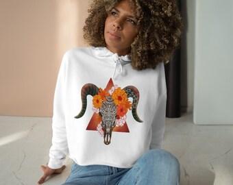 Womens Crop Fleece Hoodie, Skull Floral Boho Bohemian Crop Top Hoodie, XS-L Size, Crop Sweatshirt, Womens Sweatshirt Crop Pullover