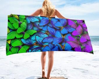 Large Beach Towel, 30 x 60 Inch Towel, Bath Towel, Butterfly Butterflies Towel, Custom Print Towel, Floral Art Designer Towel, Premium Towel