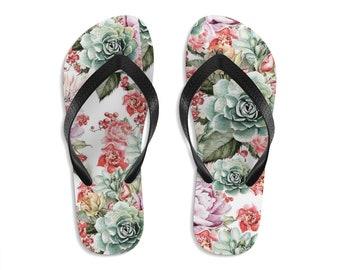 Unisex Flip Flops, Succulents Cactus Floral Print Sandals, Flowers Summer Beach Flip Flops, Beach Shoes, Boho Flip Flop Footwear Accessories