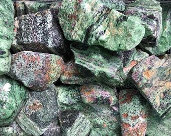 Bulk 1lb Ruby in Zoisite Gems, Ruby Zoisite Crystals, Bulk Rough Gems, Green Red Ruby Zoisite Gems, 1 Pound Bulk Wholesale Ruby in Zoisite