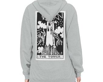 Unisex Lightweight Hoodie, Tarot Card Occult Print Sweatshirt, Pullover Front Pocket Hoodie, S-3XL Size, Divination Tarot Sweatshirt Jacket