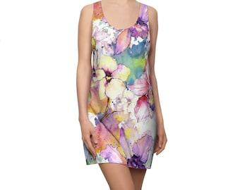 Women's Racerback Dress, Watercolor Floral Print Dress, Womens Tank Dress, All Over Print Racerback Dress Apparel Clothing, Flowers Dress