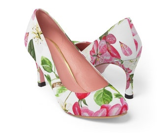 Women's High Heels, Custom Boho Bohemian Floral High Heel Shoes, 3 Inch Pumps Shoes, Nylon Canvas All Over Print Flowers High Heel Shoes