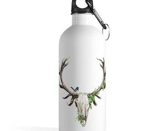 Boho Deer Skull Stainless Steel Water Bottle, Reusable 14oz Steel Water Bottle, Workout Water Bottle, Sports Bottle, Bohemian Hippie Tumbler
