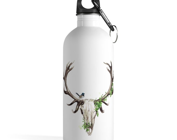 Boho Deer Skull Stainless Steel Water Bottle, Reusable 14oz Steel Water Bottle, Workout Water Bottle, Sports Bottle, Bohemian Hippie Tumbler