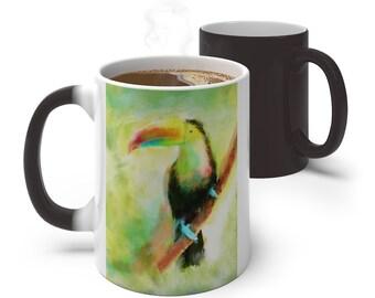 Watercolor Toucan Bird Color Changing Mug, Magical Mug, 11oz 15oz Mug, Magic Mug, Bohemian Hippie Boho Mug, Color Change Cup, Ceramic Coffee