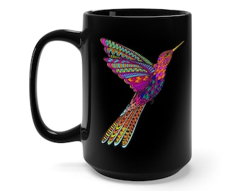 15oz Black Ceramic Mug, Boho Bohemian Hummingbird Novelty Mug, Novelty Drink Mug, Hippie Animal Coffee Mug, Boho Black Mug, Gift For Her Him