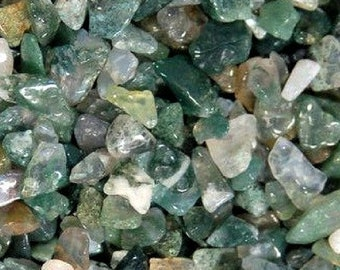 Bulk 1lb Mini 5-9mm Moss Agate Gemstone Chips, Small Polished Chips, Undrilled Gem Chips, Green Moss Agate Gem Inlay Chips Crystal Stones