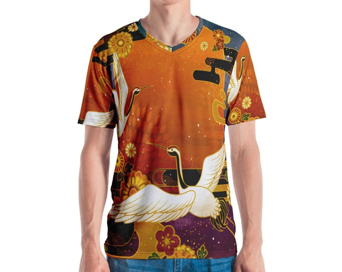 Mens V Neck Tee, All Over Print Shirt, Mens Boho Hippie Print Shirt, Japanese Crane V Neck Tee, Boho Bohemian Shirt, S-3XL Beach Summer Tee