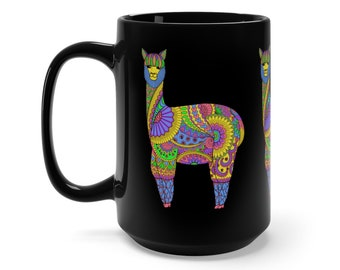 15oz Black Ceramic Mug, Boho Bohemian Llama Novelty Mug, Hippie Novelty Drink Mug, Animal Coffee Mug, Boho Black Mug, Gift For Her Him
