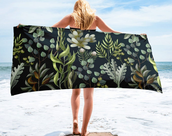 Large Beach Towel, 30 x 60 Inch Towel, Bath Towel, Succulents Cactus Towel, Custom Print Towel, Floral Art Designer Towel, Premium Towel