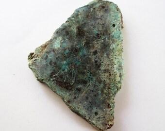 Raw Polished Arizon Blue Turquoise, Pyrite, Hematite, Chrysocolla, Arizona Chrysocolla Turquoise Slab, Blue Gemstone Slab, Blue Turquoise