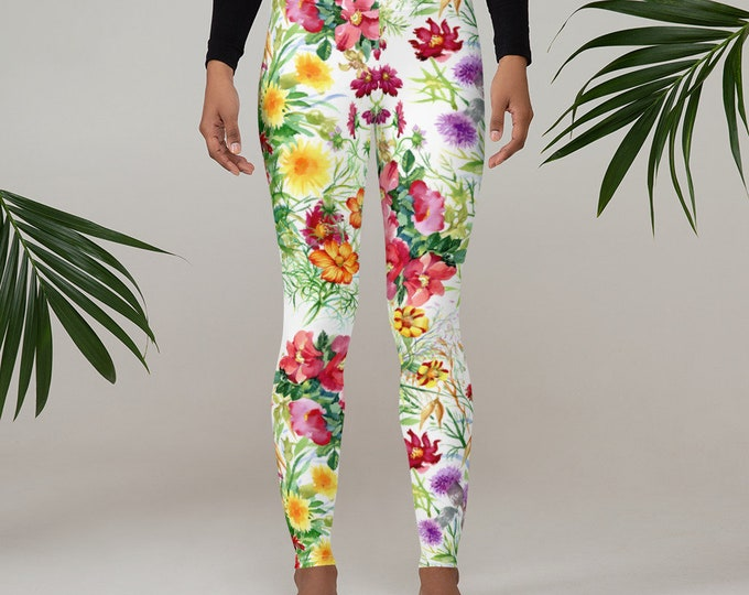 Womens Leggings, Boho Flowers Floral Leggings, Exercise Yoga Pants, Bohemian Wildflower Leggings XS S M L XL Size, Workout Sports Wear Pants
