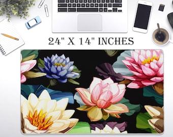 "LARGE Japanese Floral Desk Pad, 24"" x 12""in Non Slip Desk Pad, Office Accessories, Computer Tech Supplies, Boho Bohemian Neoprene Desk Mat"
