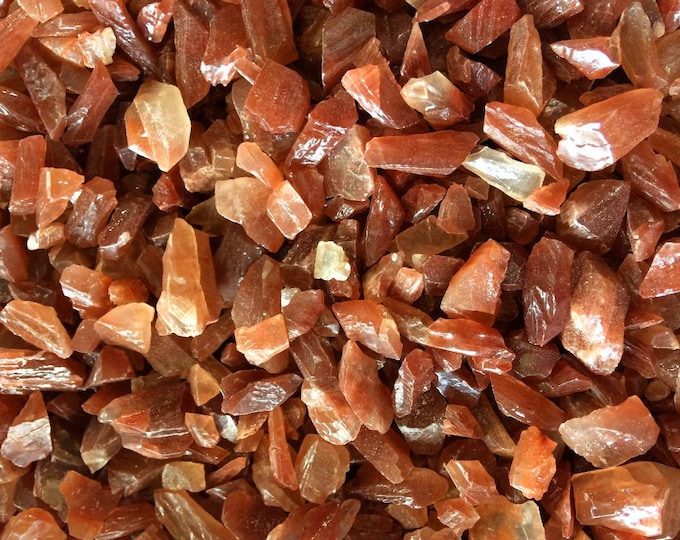 50g MINI Red Calcite Tumbled Polished Chips, Undrilled Gem Chips, Small 10-20mm Red Calcite Crystals, Jewelry Craft Supplies