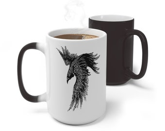 Boho Runic Raven Crow Color Changing Mug, Norse Crow Mug, 11oz 15oz Mug, Magic Mug, Bohemian Hippie Boho Mug, Color Change Cup, Ceramic Mug