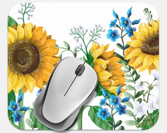 Floral Mouse Pad, Sunflower Mouse Pad, Computer Accessories, Tech Desk Supplies, Boho Bohemian Hippie Mouse Pad, Neoprene Non Slip Mouse Pad