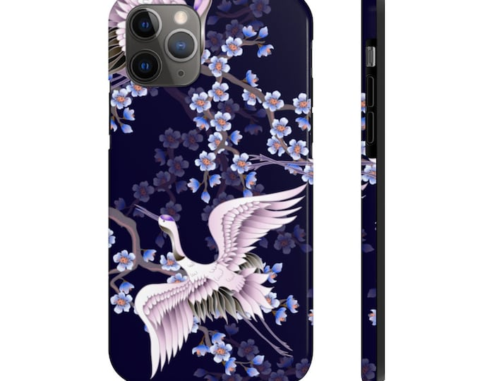 Case Mate Tough Phone Case, iPhone Samsung Phone Cover, Japanese Crane Floral Phone Case, iPhone 11/11 Pro, Samsung Galaxy, iPhone XS XR