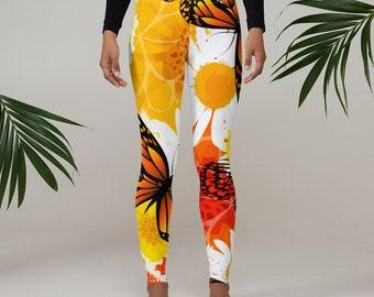 Womens Leggings, Boho Butterflies Leggings, Exercise Yoga Pants, Bohemian Butterfly Leggings XS S M L XL Size, Workout Sports Wear Pants
