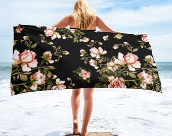 Large Beach Towel, 30 x 60 Inch Towel, Bath Towel, Roses Rose Floral Towel, Custom Print Towel, Floral Art Designer Towel, Premium Towel