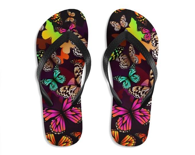 Unisex Flipflops, Insect Butterflies Boho Print Sandals, Soft Summer Beach Flip Flops, Beach Shoes, Boho Hippie Shoes, Bohemian Footware