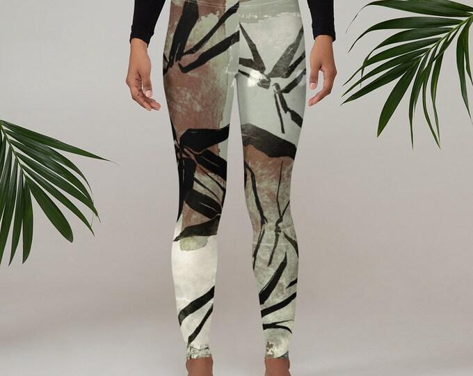 Womens Leggings, Boho Japanese Bamboo Leggings, Exercise Yoga Pants, Bohemian Abstract Leggings XS S M L XL Size, Workout Sports Wear Pants