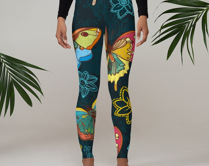 Womens Leggings, Boho Butterflies Leggings, Exercise Yoga Pants, Bohemian Butterfly Leggings XS S M L XL Size, Workout Sports Wear Pants