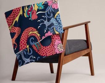 LARGE 50 x 60 Chinese Dragon Minky Fleece Throw Blanket, Fleece Blanket, Minky Blanket, Premium Silky Minky Floral Blanket, Asian Art Decor