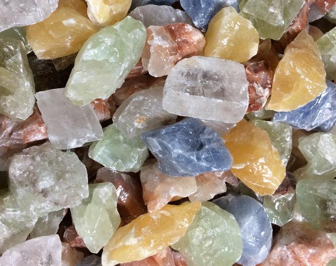 Bulk 1lb MEDIUM Rough Mixed Calcite Rock Gemstone, Multi Colored Calcite, Bulk Wholesale Red Green Blue Orange Clear Calcite Crystals