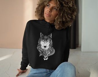 Womens Crop Fleece Hoodie, Tribal Wolf Animal Boho Bohemian Crop Top Hoodie, XS-L Size, Crop Sweatshirt, Womens Sweatshirt Crop Pullover