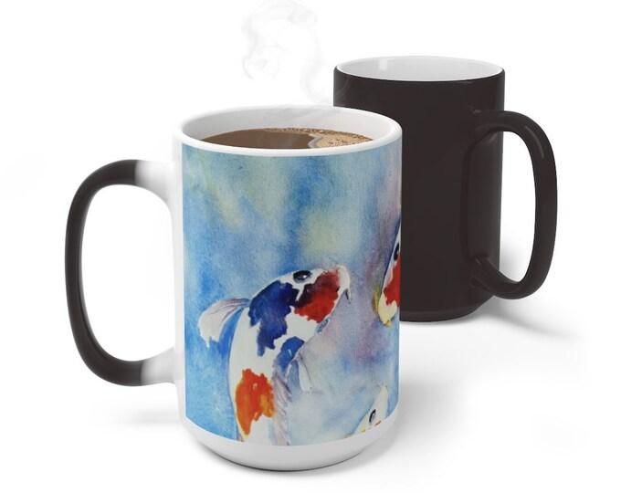 Japanese Koi Fish Color Changing Mug, Magical Mug, 11oz 15oz Mug, Magic Mug, Bohemian Hippie Boho Mug, Color Change Cup, Ceramic Coffee Mug