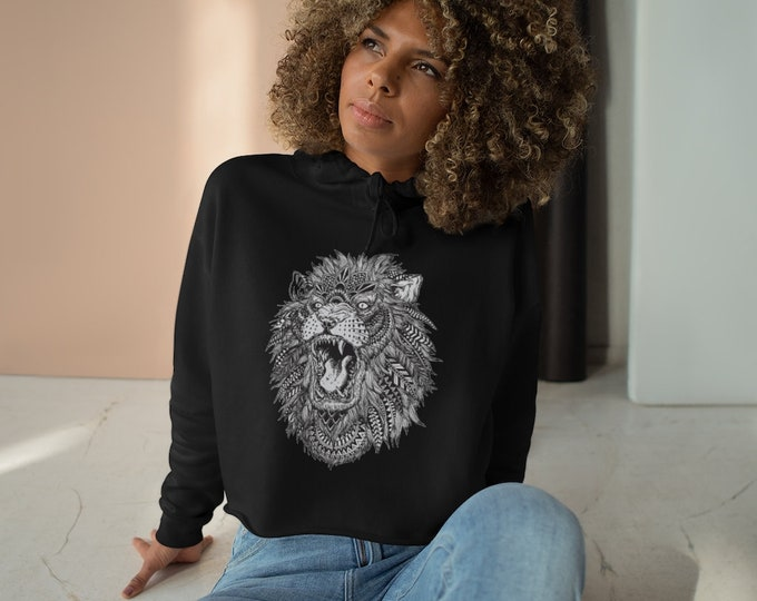 Womens Crop Fleece Hoodie, Tribal Lion Animal Boho Bohemian Crop Top Hoodie, XS-L Size, Crop Sweatshirt, Womens Sweatshirt Crop Pullover