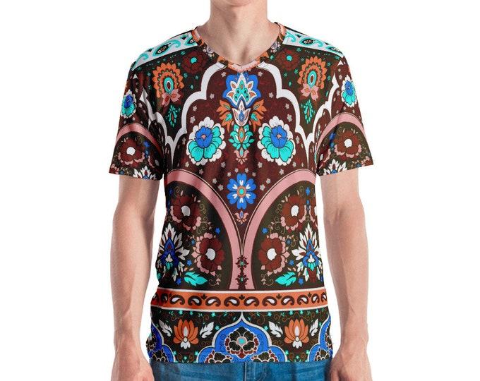 Mens V Neck Tee, All Over Print Shirt, Mens Boho Hippie Print Shirt, Batik Tribal V Neck Tee, Boho Bohemian Shirt, S-3XL Beach Summer Tee