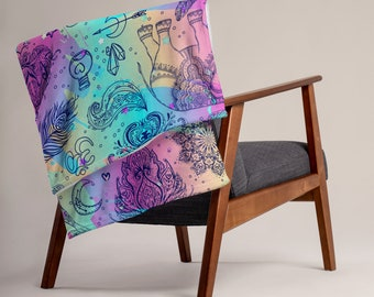LARGE 50 x 60 Boho Yoga Meditation Minky Fleece Throw Blanket, Fleece Blanket, Minky Blanket, Premium Silky Minky Celestial Blanket Bedding