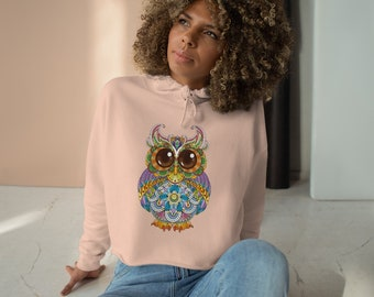 Womens Crop Fleece Hoodie, Tribal Owl Animal Boho Bohemian Crop Top Hoodie, XS-L Size, Crop Sweatshirt, Womens Sweatshirt Crop Pullover