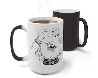 Boho Crystal Ball Magic Color Changing Wicca Mug, 11oz 15oz Mug, Magic Mug, Bohemian Hippie Boho Mug, Color Change Cup, Ceramic Mug