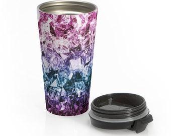 Stainless Steel Travel Mug, Crystals Boho Bohemian Hippie Travel Mug, All Over Print Steel Mug, 15 Ounce Tumbler, 15oz Coffee Tea Drinkware
