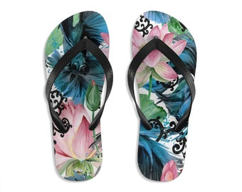 Unisex Flipflops, Japanese Floral Print Sandals, Soft Summer Flip Flops, Koi Fish Beach Shoes, Boho Bohemian Hippie Flip Flop Shoes