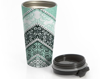 Stainless Steel Travel Mug, Boho Bohemian Hippie Travel Mug, All Over Print Steel Mug, 15 Ounce Tumbler, 15oz Travel Mug Tumbler Drinkware