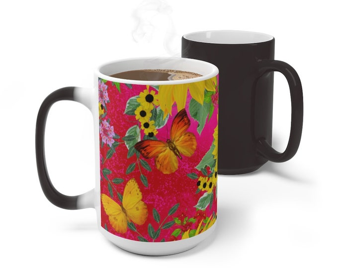Butterflies Sunflowers Color Changing Mug, Magical Mug, 11oz 15oz Mug, Magic Mug, Bohemian Hippie Boho Mug, Color Change Cup, Ceramic Mug