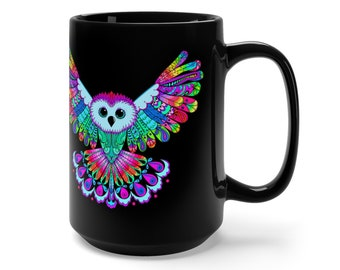 15oz Black Ceramic Mug, Boho Bohemian Owl Bird Novelty Mug, Novelty Drink Mug, Animal Coffee Mug, Boho Hippie Ceramic Mug Gift For Her Him