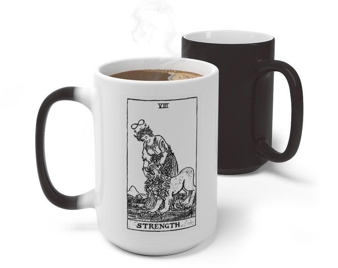 Tarot Card Color Changing Mug, Strength Tarot Card Mug, 11oz 15oz Mug, Magic Mug, Occult Divination Spiritual Color Change Ceramic Cup Mug