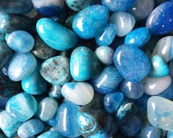 Bulk 1lb Tumbled Dyed Blue Agate Gemstones, Bulk Wholesale Party Colors Tumbled Stones, Dyed Blue Gemstones, Bulk Crystals, Agate Gemstones